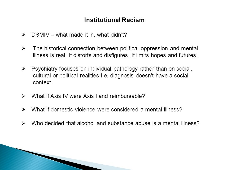 Institutional Racism  DSMIV – what made it in, what didn't.