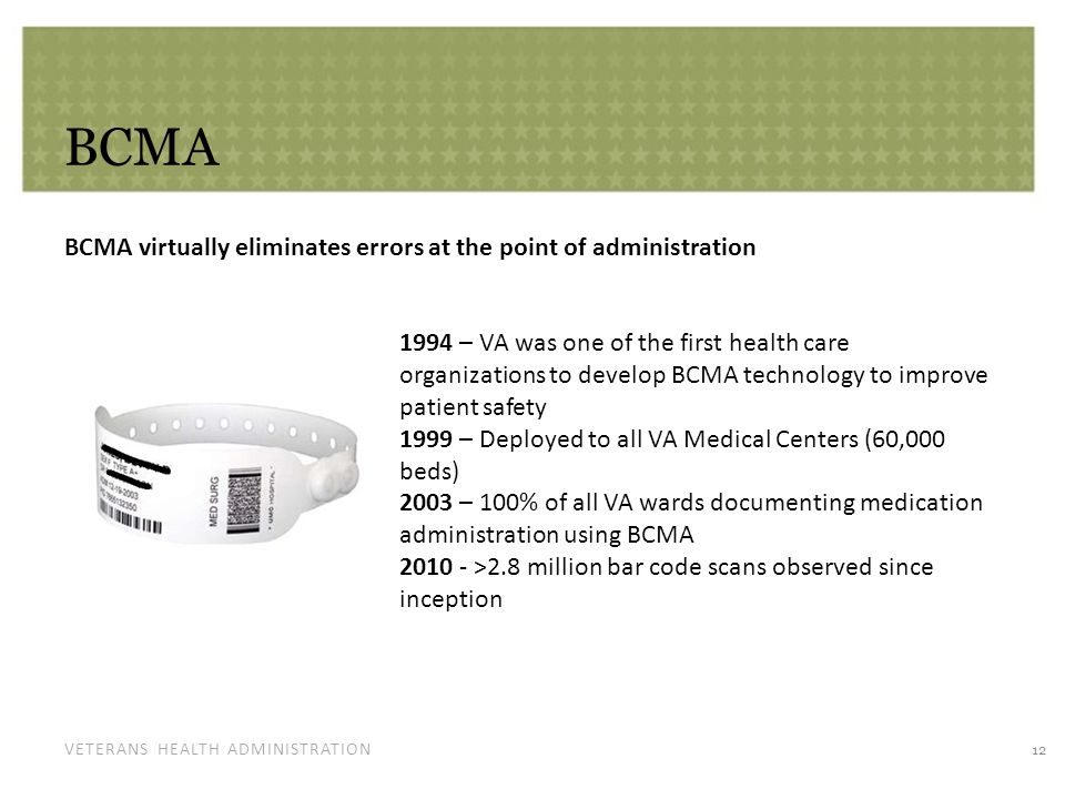 VETERANS HEALTH ADMINISTRATION BCMA BCMA virtually eliminates errors at the point of administration 12 1994 – VA was one of the first health care orga