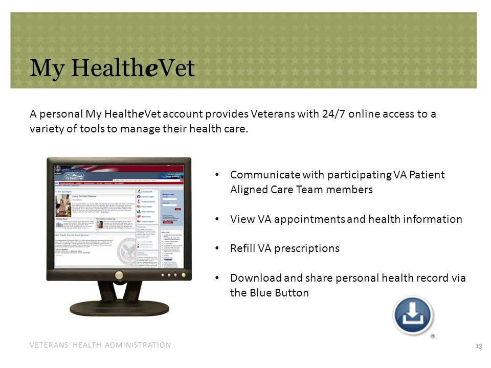 VETERANS HEALTH ADMINISTRATION My HealtheVet A personal My HealtheVet account provides Veterans with 24/7 online access to a variety of tools to manag