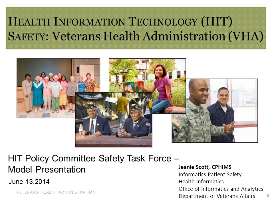 VETERANS HEALTH ADMINISTRATION Veterans Health Information Systems and Technology Architecture (VistA) An integrated suite of Health Information Technology Systems used across care settings including: Electronic Health Record (EHR) Imaging Medication Administration Personal Health Records Data Sharing with and beyond VHA Much more – Administrative also… 7