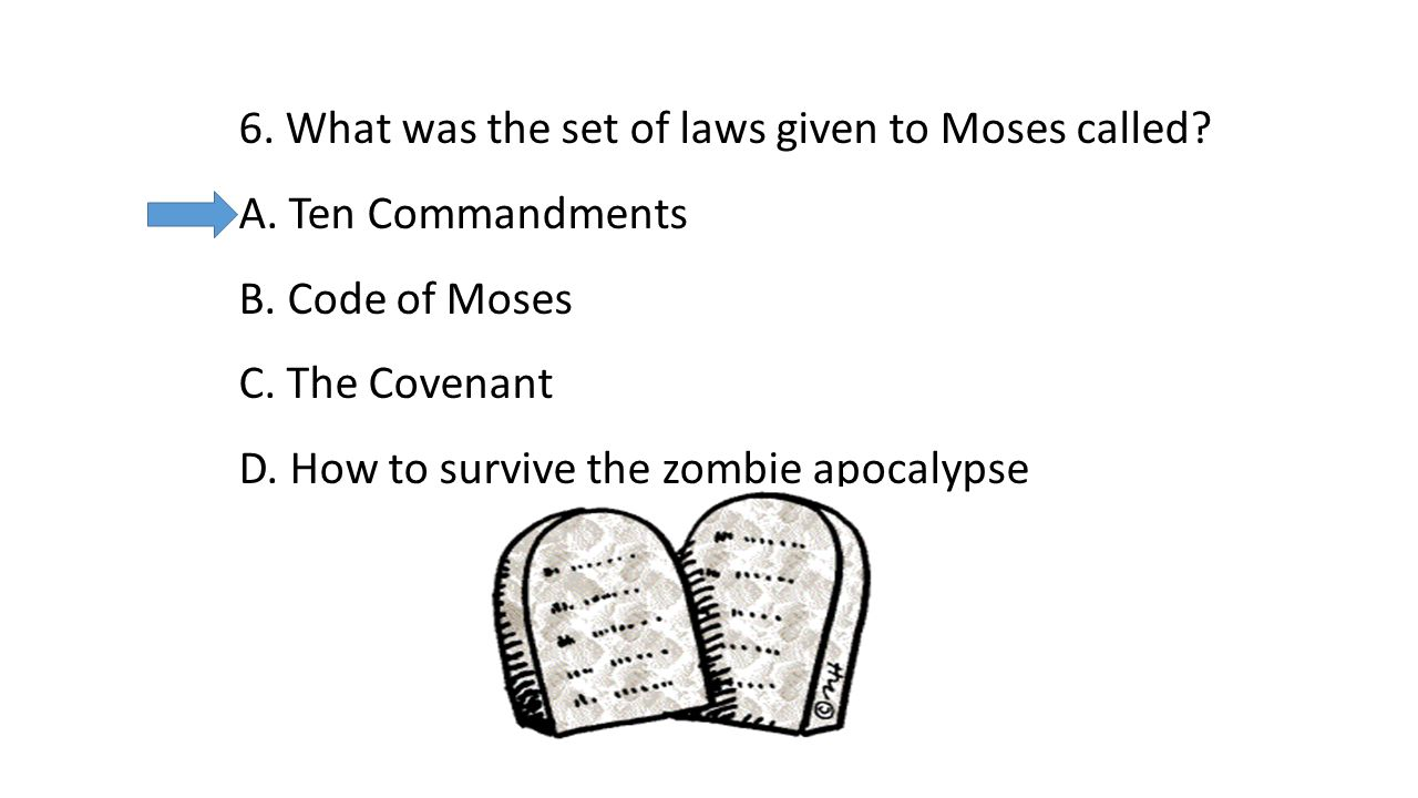 6. What was the set of laws given to Moses called.