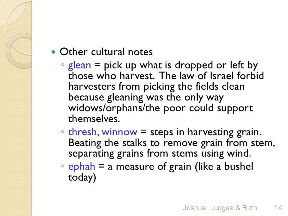 Other cultural notes ◦ glean = pick up what is dropped or left by those who harvest.