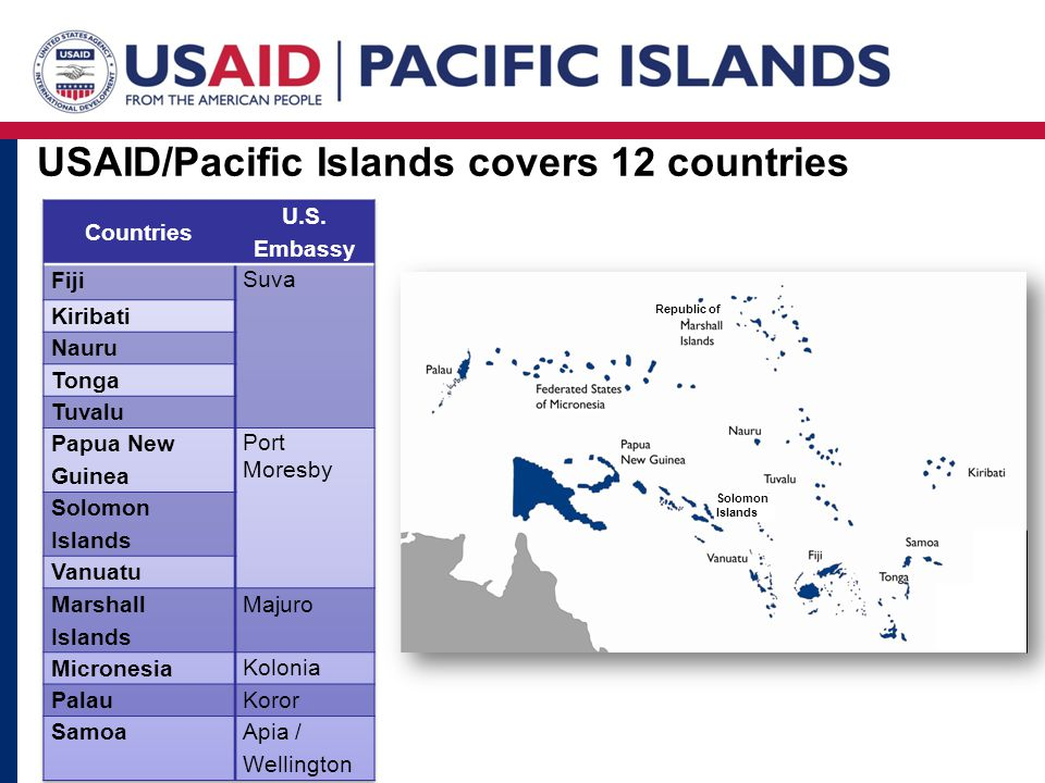 Solomon Islands Republic of USAID/Pacific Islands covers 12 countries