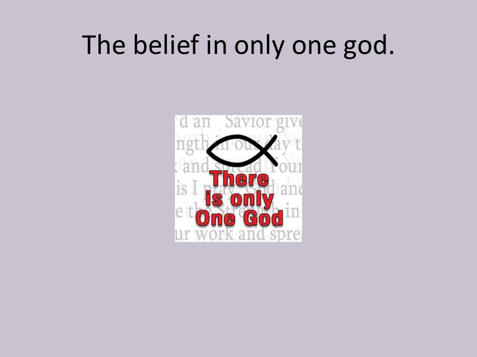 The belief in only one god.
