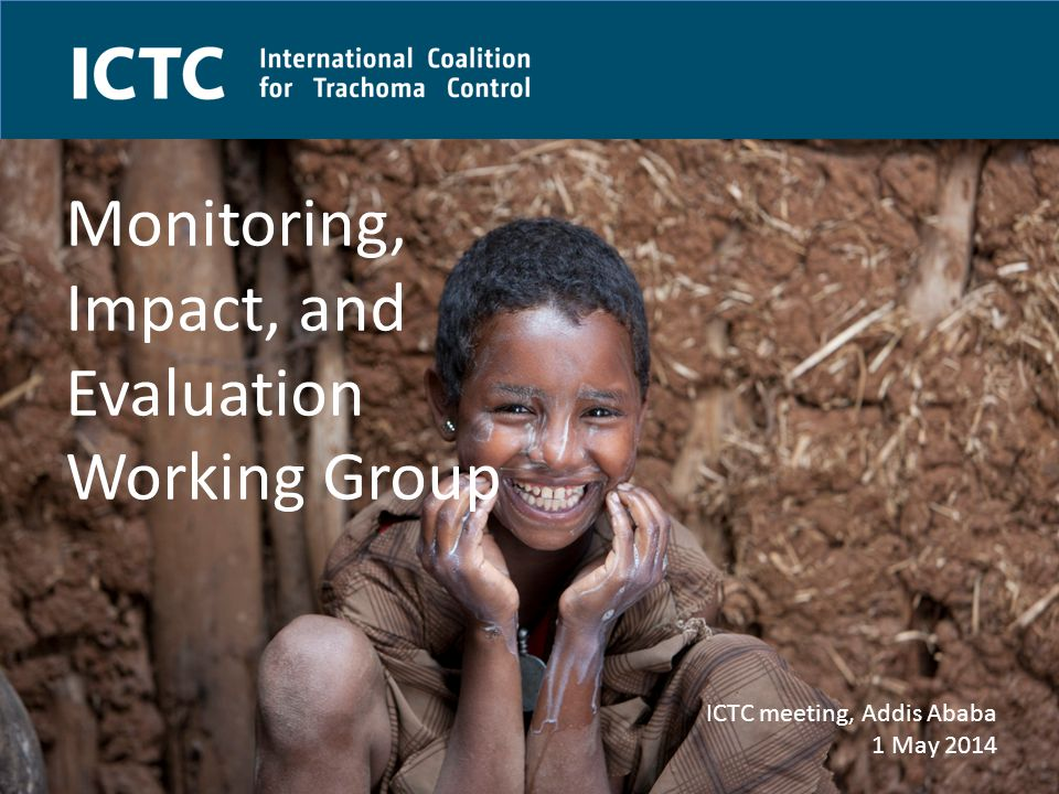 ICTC - Celebrating our ten year anniversary in 2014 Membership Emily Toubali (HKI) and Simon Brooker (LSHTM): Co-chairs Matt Little(The Trust) Johannes Trimmel (LfTW) Rebecca Mann Flueckiger (ITI) Aisha Stewart (TCC) Jo O'Sullivan (FHF) Susan Walker (Sightsavers) Isabella Montgomery (ICTC) Michaela Kelly (Sightsavers) Emily Gower (WFU) – link to TT WG Lisa Rotondo (RTI) – link to MDA WG Geordie Woods (Sightsavers) – link to WASH WG Anthony Solomon (WHO) Guidance provided by: Danny Haddad and Paul Courtright