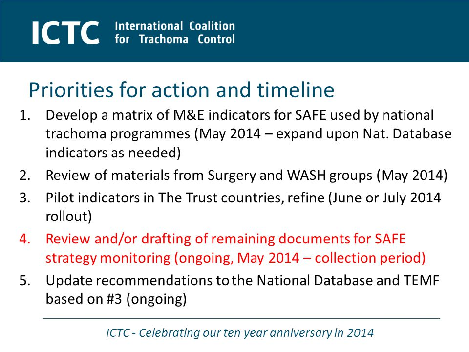 ICTC - Celebrating our ten year anniversary in 2014 Priorities for action and timeline 1.Develop a matrix of M&E indicators for SAFE used by national trachoma programmes (May 2014 – expand upon Nat.