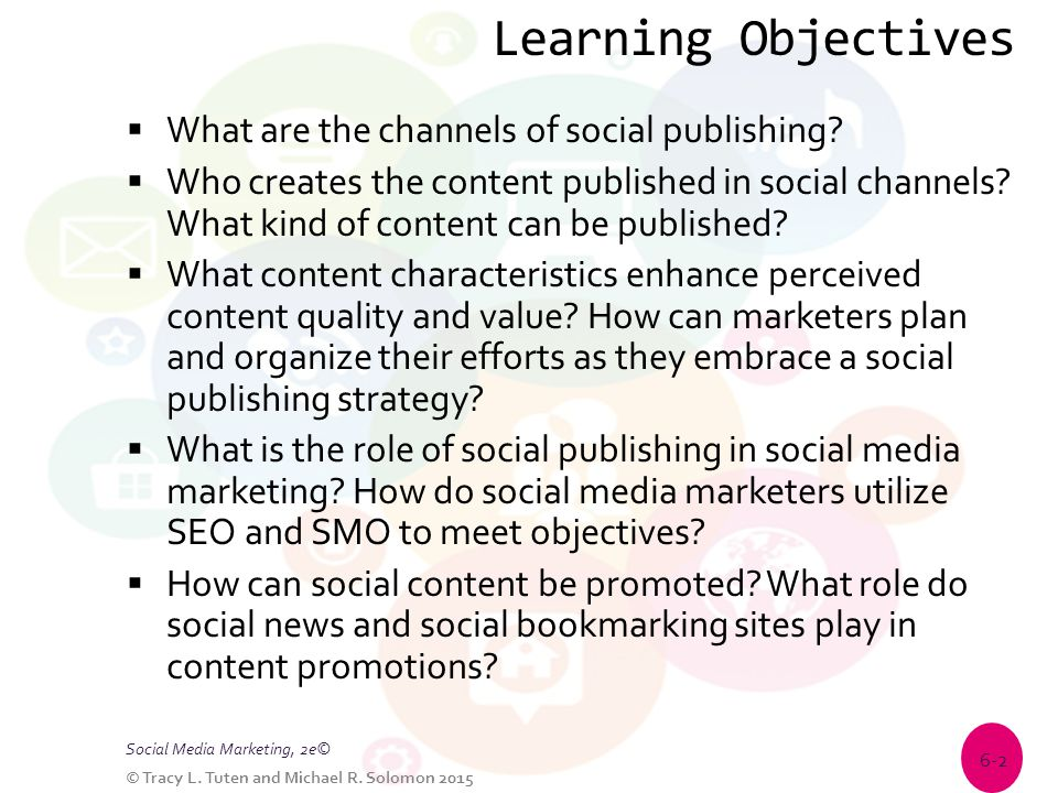 Learning Objectives  What are the channels of social publishing?  Who creates the content published in social channels? What kind of content can be