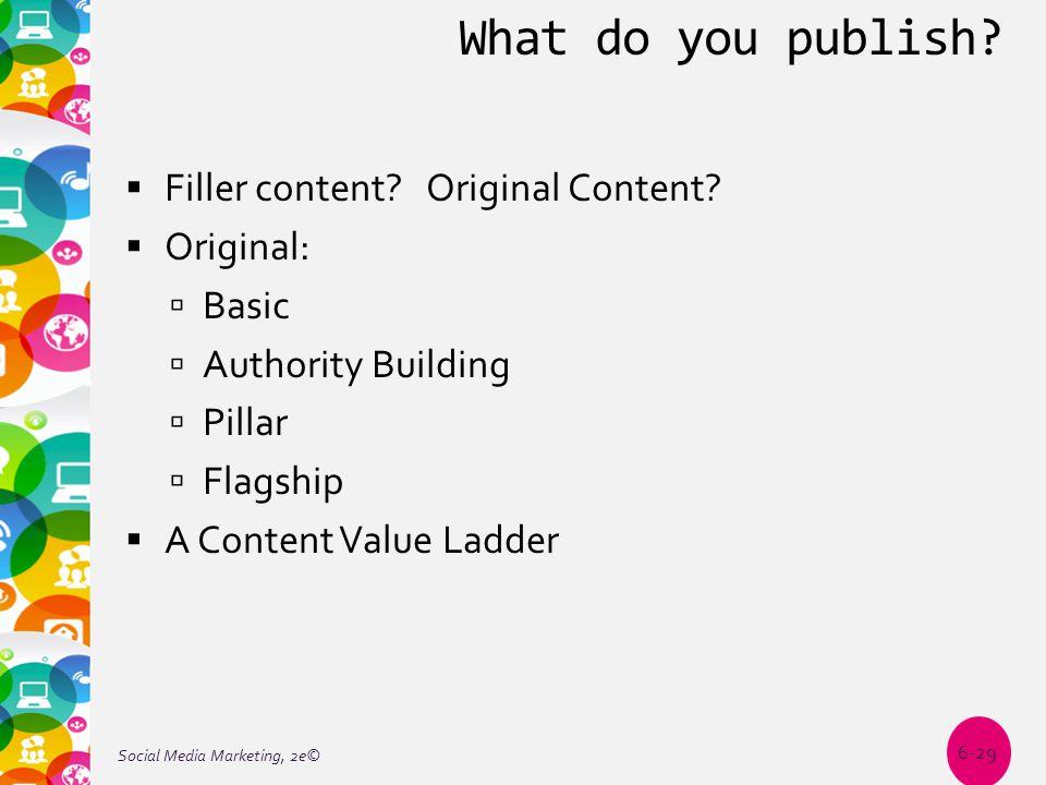 What do you publish?  Filler content? Original Content?  Original:  Basic  Authority Building  Pillar  Flagship  A Content Value Ladder Social