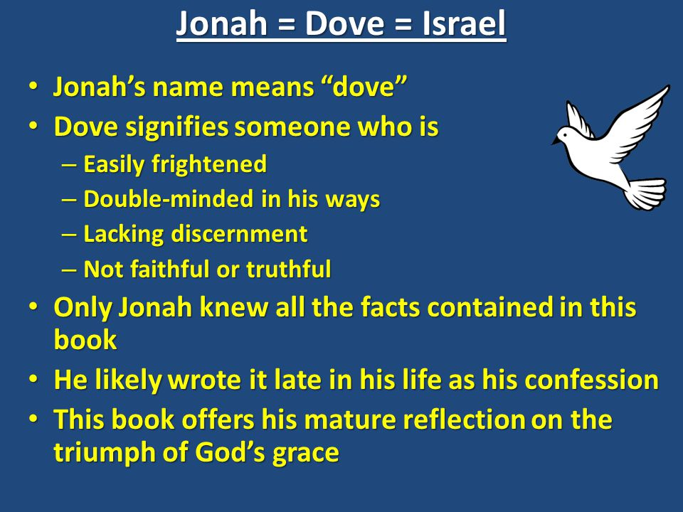 Jonah = Dove = Israel Jonah's name means dove Jonah's name means dove Dove signifies someone who is Dove signifies someone who is – Easily frightened – Double-minded in his ways – Lacking discernment – Not faithful or truthful Only Jonah knew all the facts contained in this book Only Jonah knew all the facts contained in this book He likely wrote it late in his life as his confession He likely wrote it late in his life as his confession This book offers his mature reflection on the triumph of God's grace This book offers his mature reflection on the triumph of God's grace