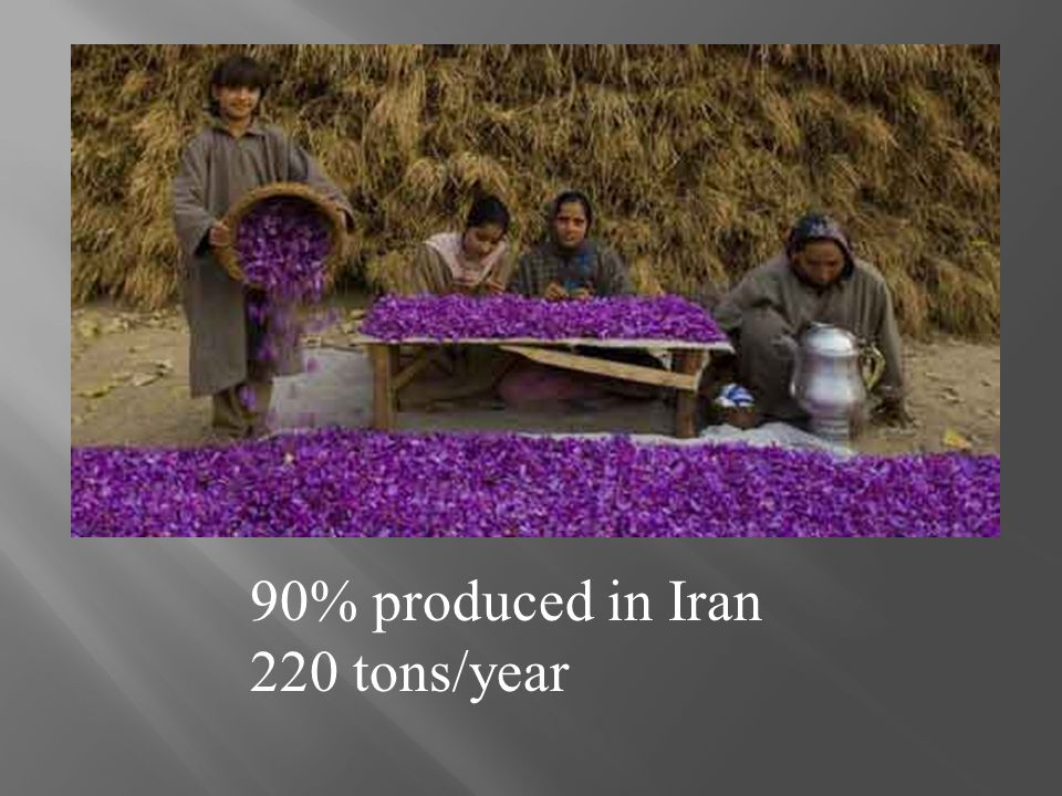 90% produced in Iran 220 tons/year