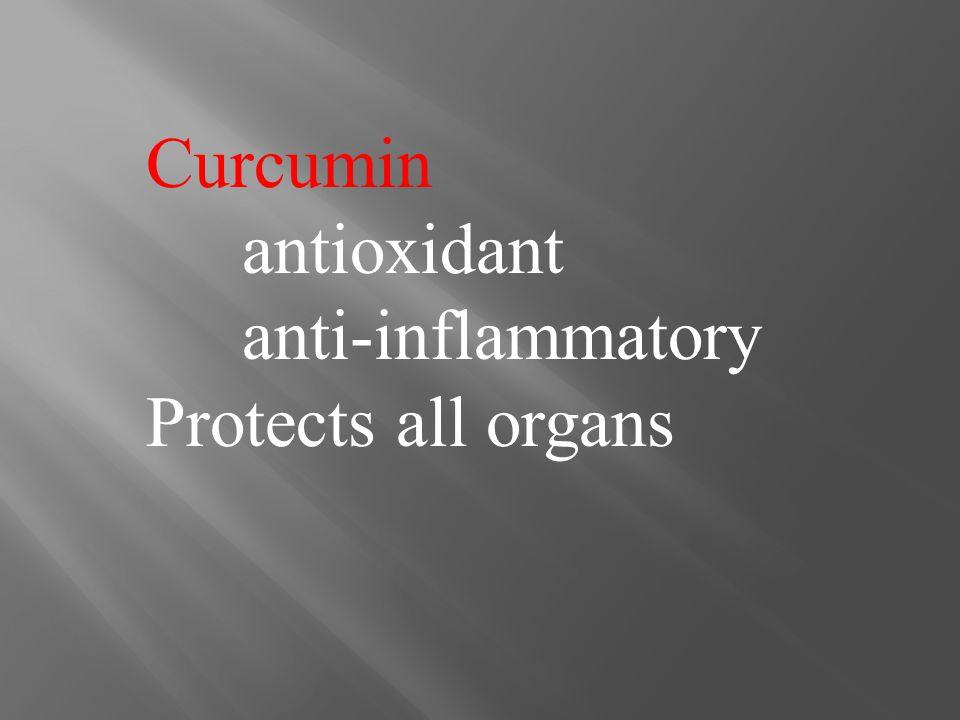 Curcumin antioxidant anti-inflammatory Protects all organs