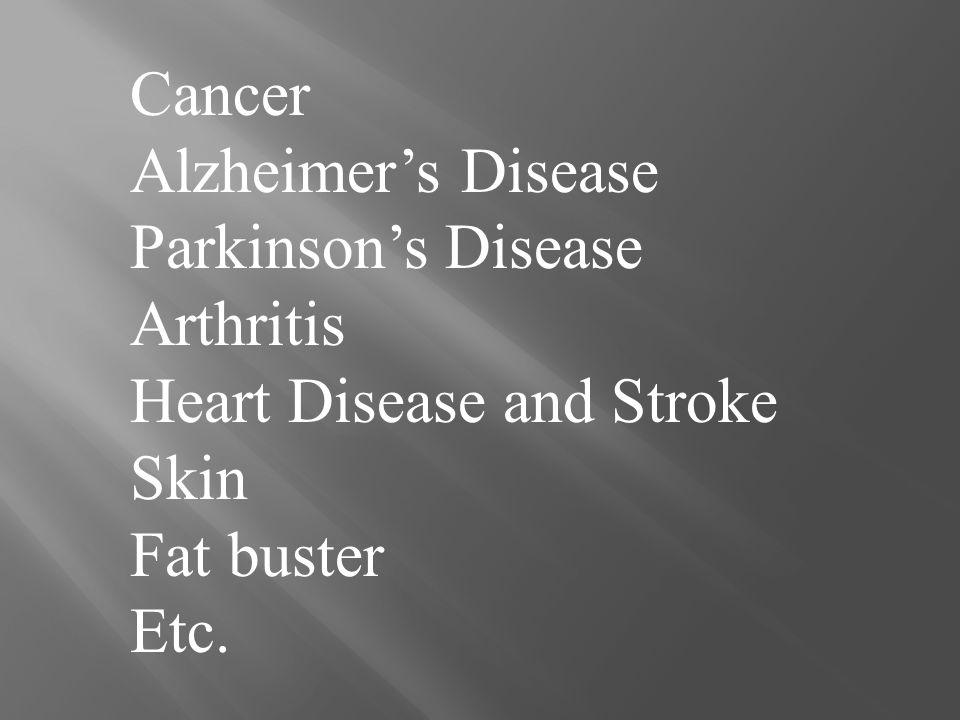 Cancer Alzheimer's Disease Parkinson's Disease Arthritis Heart Disease and Stroke Skin Fat buster Etc.