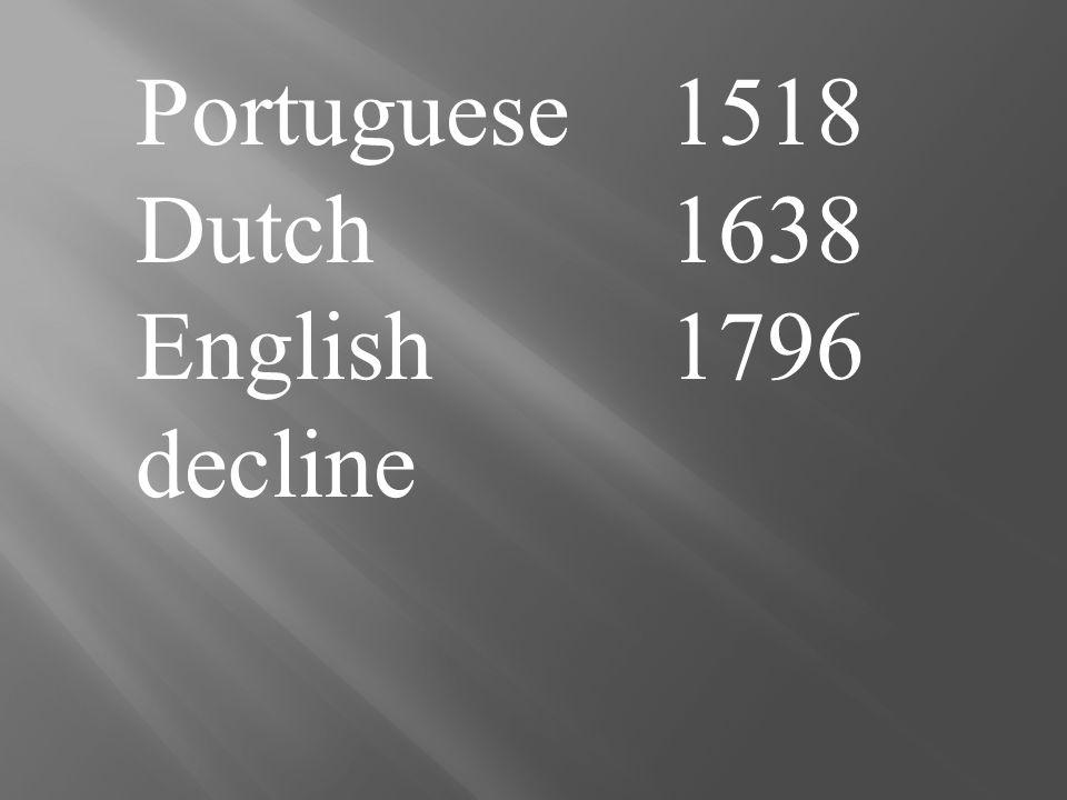 Portuguese 1518 Dutch1638 English 1796 decline