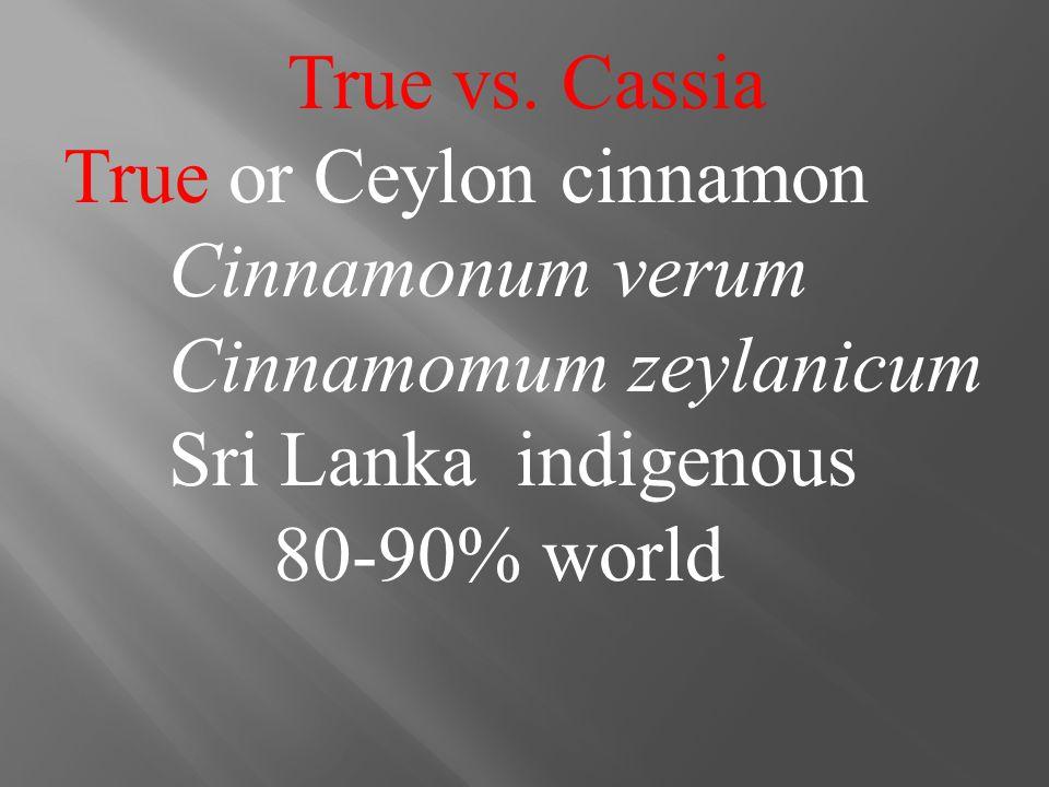 True vs. Cassia True or Ceylon cinnamon Cinnamonum verum Cinnamomum zeylanicum Sri Lanka indigenous 80-90% world