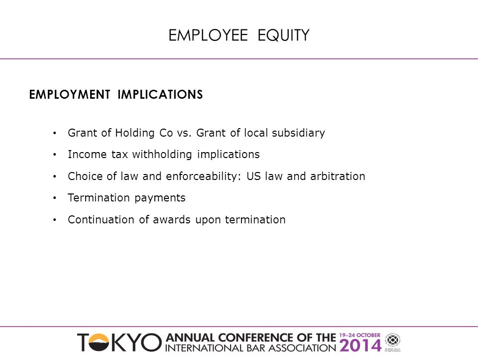 EMPLOYMENT IMPLICATIONS Grant of Holding Co vs.