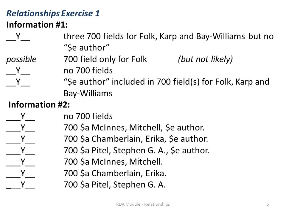 "Relationships Exercise 1 Information #1: __Y__ three 700 fields for Folk, Karp and Bay-Williams but no ""$e author"" possible 700 field only for Folk (b"