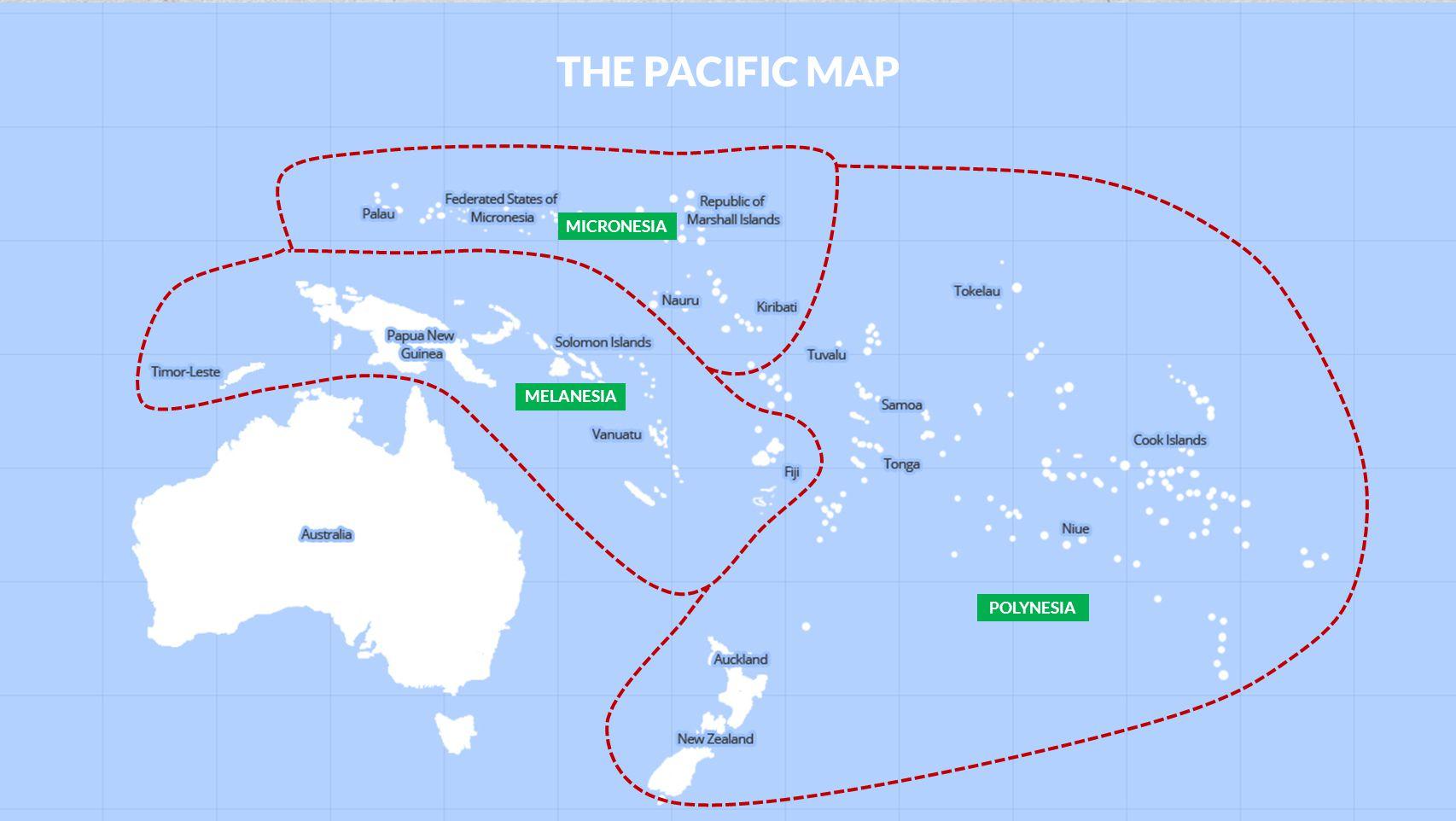 MELANESIA MICRONESIA POLYNESIA THE PACIFIC MAP
