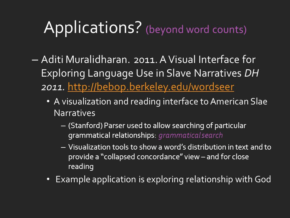 Applications. (beyond word counts) – Aditi Muralidharan.