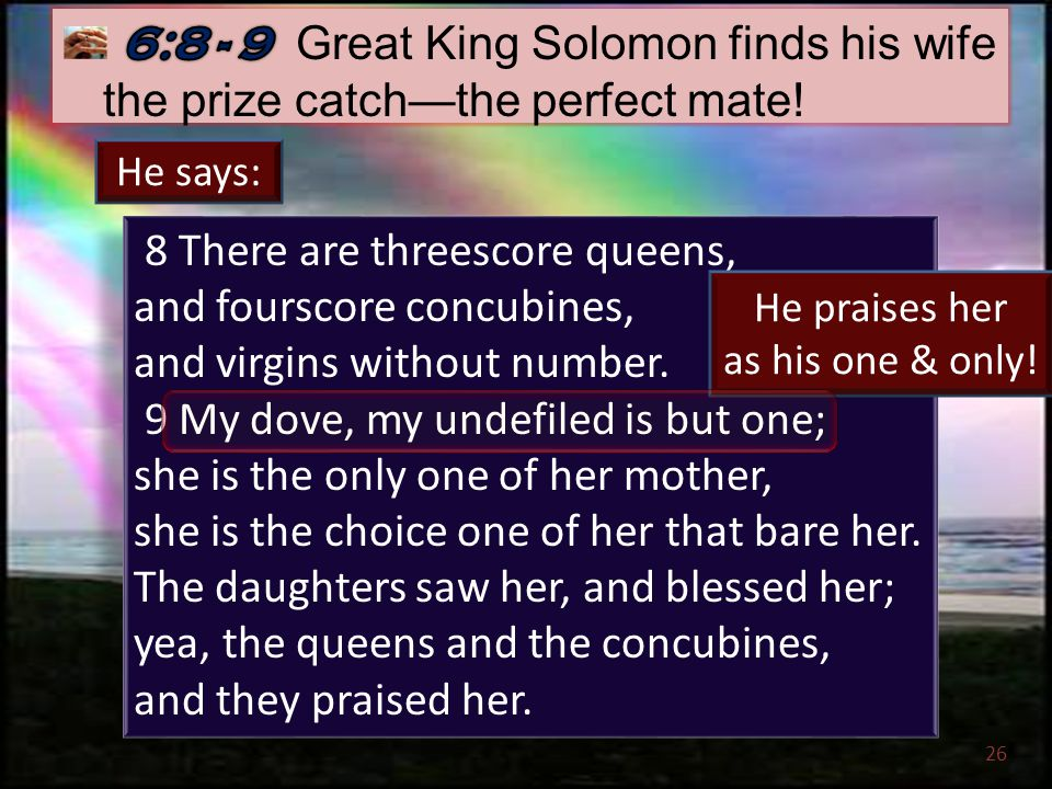 26 8 There are threescore queens, and fourscore concubines, and virgins without number.