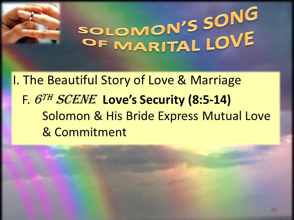 I. The Beautiful Story of Love & Marriage F.