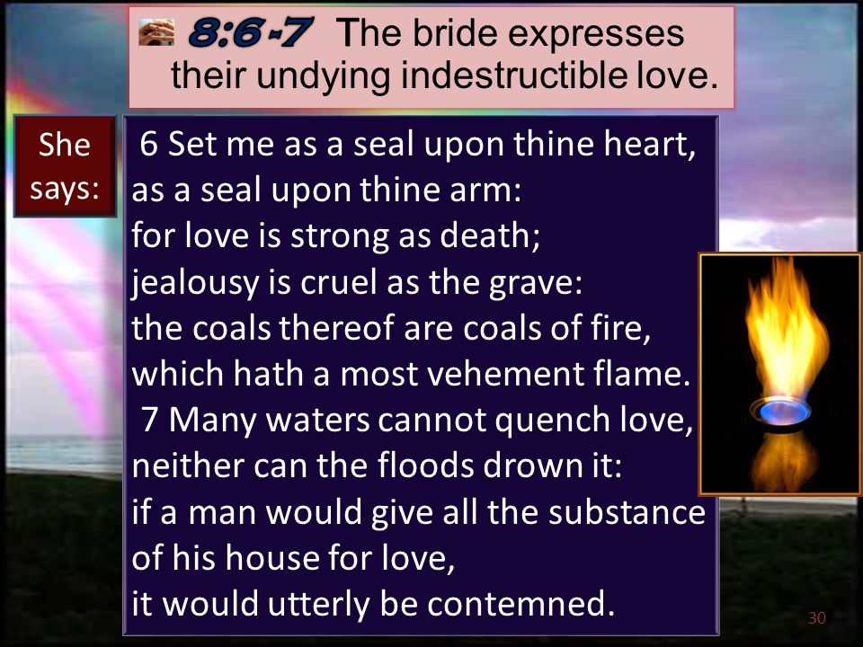 30 6 Set me as a seal upon thine heart, as a seal upon thine arm: for love is strong as death; jealousy is cruel as the grave: the coals thereof are coals of fire, which hath a most vehement flame.