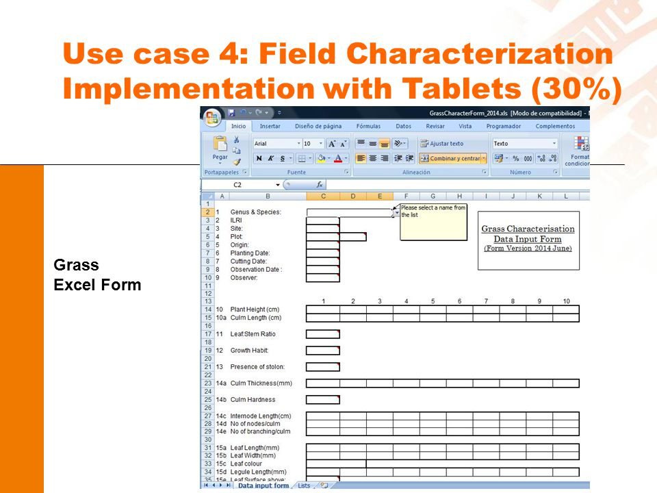 Use case 4: Field Characterization Implementation with Tablets (30%) Grass Excel Form