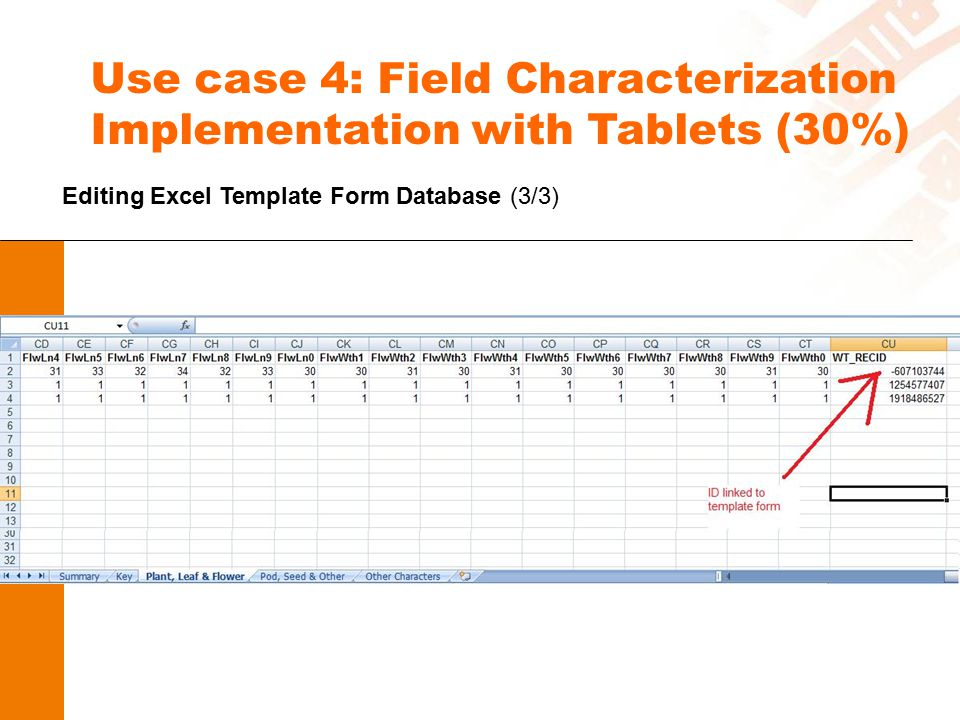 Use case 4: Field Characterization Implementation with Tablets (30%) Editing Excel Template Form Database (3/3)