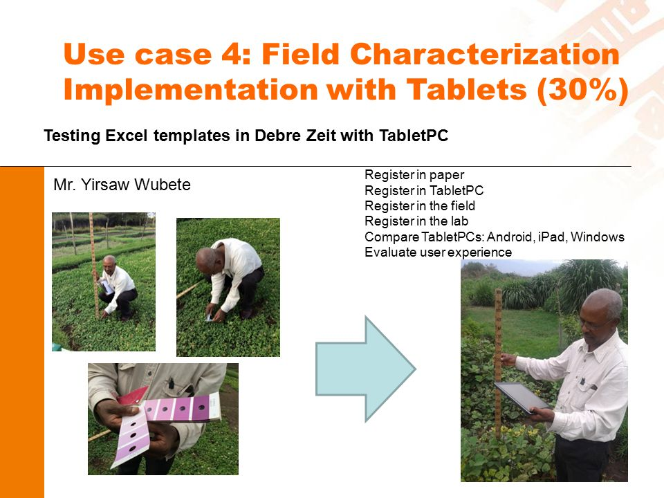 Use case 4: Field Characterization Implementation with Tablets (30%) Testing Excel templates in Debre Zeit with TabletPC Mr. Yirsaw Wubete Register in