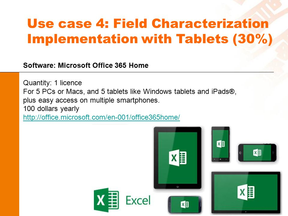Use case 4: Field Characterization Implementation with Tablets (30%) Software: Microsoft Office 365 Home Quantity: 1 licence For 5 PCs or Macs, and 5