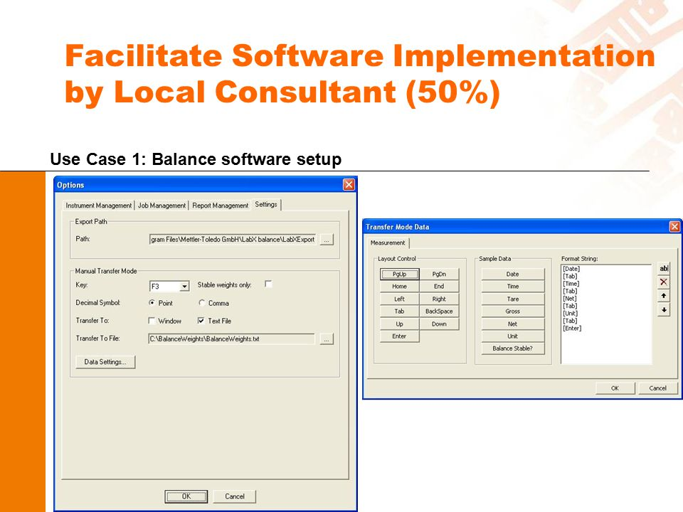 Facilitate Software Implementation by Local Consultant (50%) Use Case 1: Balance software setup