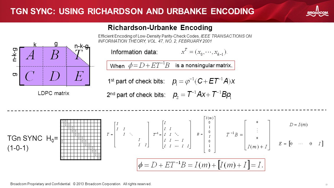 51 Broadcom Proprietary and Confidential. © 2013 Broadcom Corporation. All rights reserved. TGN SYNC: USING RICHARDSON AND URBANKE ENCODING Efficient