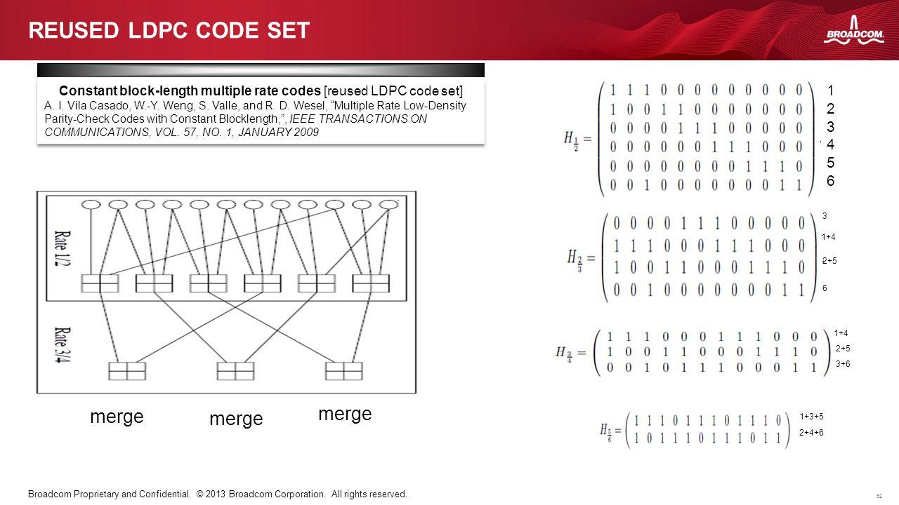 62 Broadcom Proprietary and Confidential. © 2013 Broadcom Corporation. All rights reserved. REUSED LDPC CODE SET 123456123456 1+4 2+5 3+6 1+3+5 2+4+6