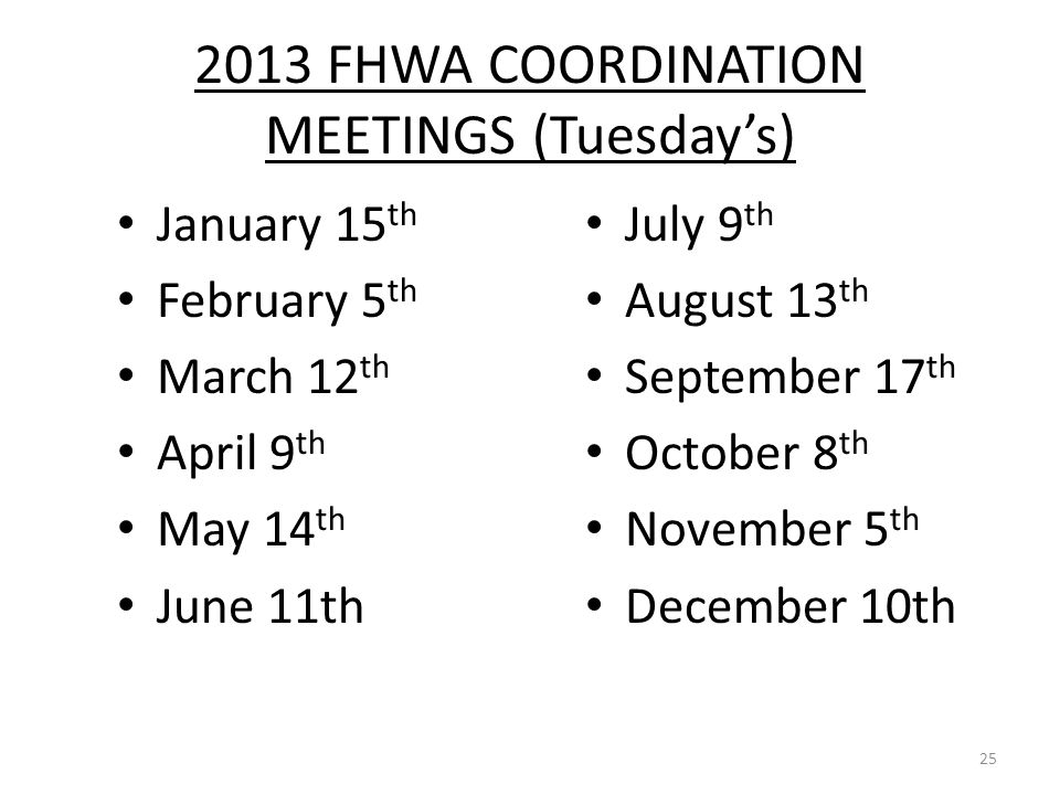 2013 FHWA COORDINATION MEETINGS (Tuesday's) January 15 th February 5 th March 12 th April 9 th May 14 th June 11th July 9 th August 13 th September 17