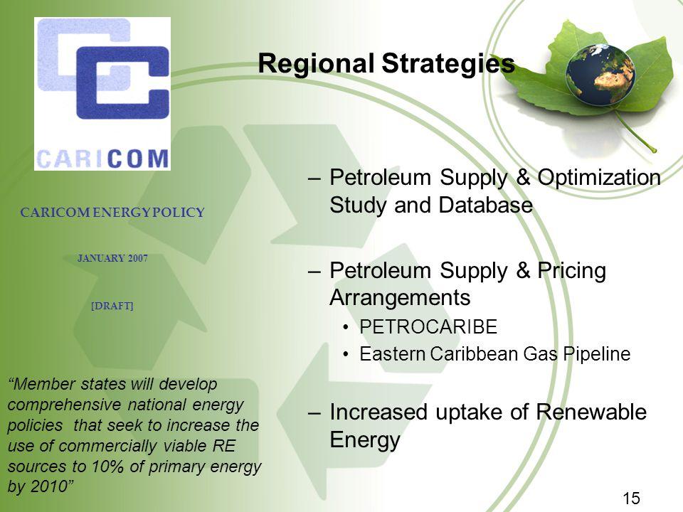 Regional Strategies –Petroleum Supply & Optimization Study and Database –Petroleum Supply & Pricing Arrangements PETROCARIBE Eastern Caribbean Gas Pip