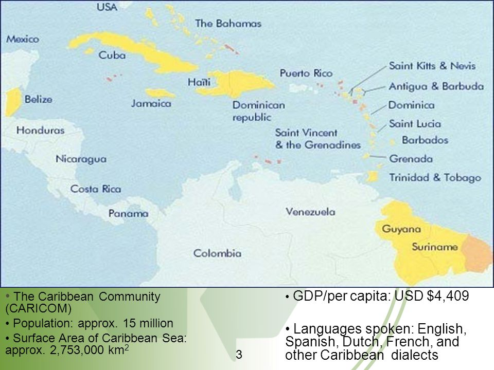 The Caribbean Community (CARICOM) Population: approx. 15 million Surface Area of Caribbean Sea: approx. 2,753,000 km 2 GDP/per capita: USD $4,409 Lang