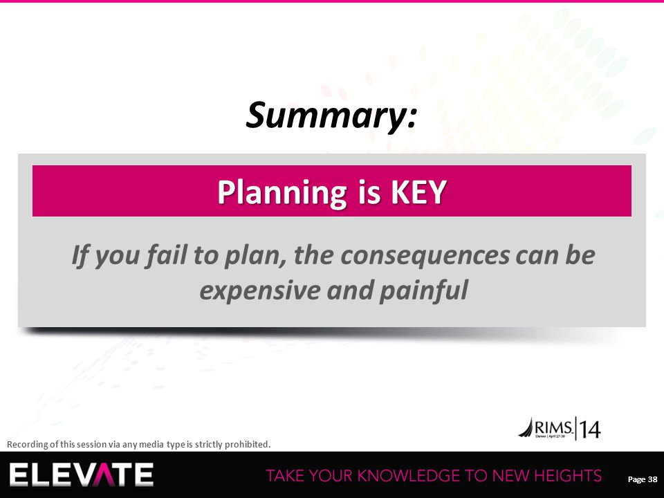 Page 38 Recording of this session via any media type is strictly prohibited. Summary: 38 Planning is KEY If you fail to plan, the consequences can be