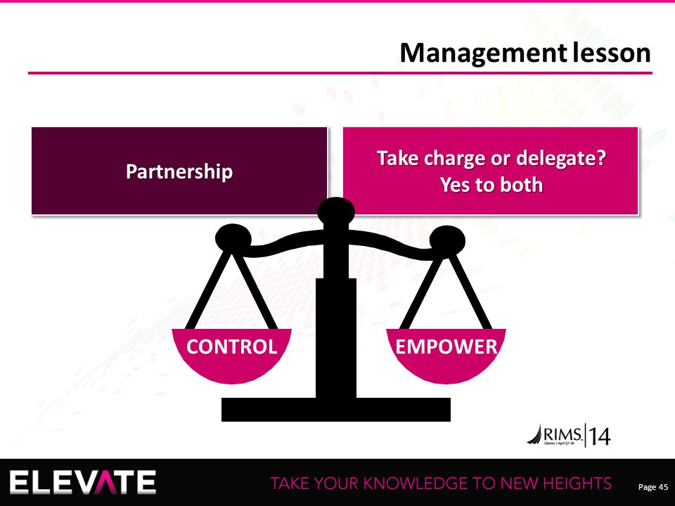 Page 45 Partnership Take charge or delegate? Yes to both Management lesson CONTROLEMPOWER