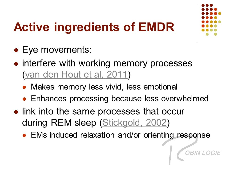 Active ingredients of EMDR Eye movements: interfere with working memory processes (van den Hout et al, 2011)van den Hout et al, 2011 Makes memory less vivid, less emotional Enhances processing because less overwhelmed link into the same processes that occur during REM sleep (Stickgold, 2002)Stickgold, 2002 EMs induced relaxation and/or orienting response