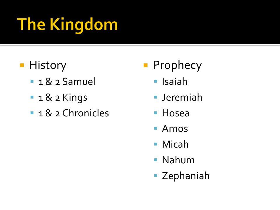  History  1 & 2 Samuel  1 & 2 Kings  1 & 2 Chronicles  Prophecy  Isaiah  Jeremiah  Hosea  Amos  Micah  Nahum  Zephaniah