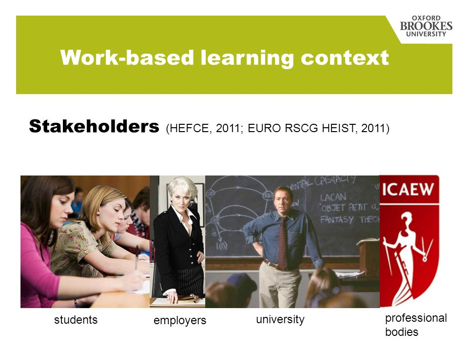 Stakeholders (HEFCE, 2011; EURO RSCG HEIST, 2011) students employers university professional bodies Work-based learning context