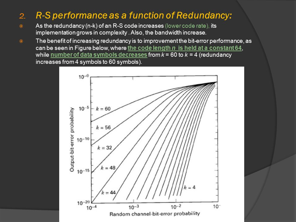 2. R-S performance as a function of Redundancy:  As the redundancy (n-k) of an R-S code increases (lower code rate), its implementation grows in comp
