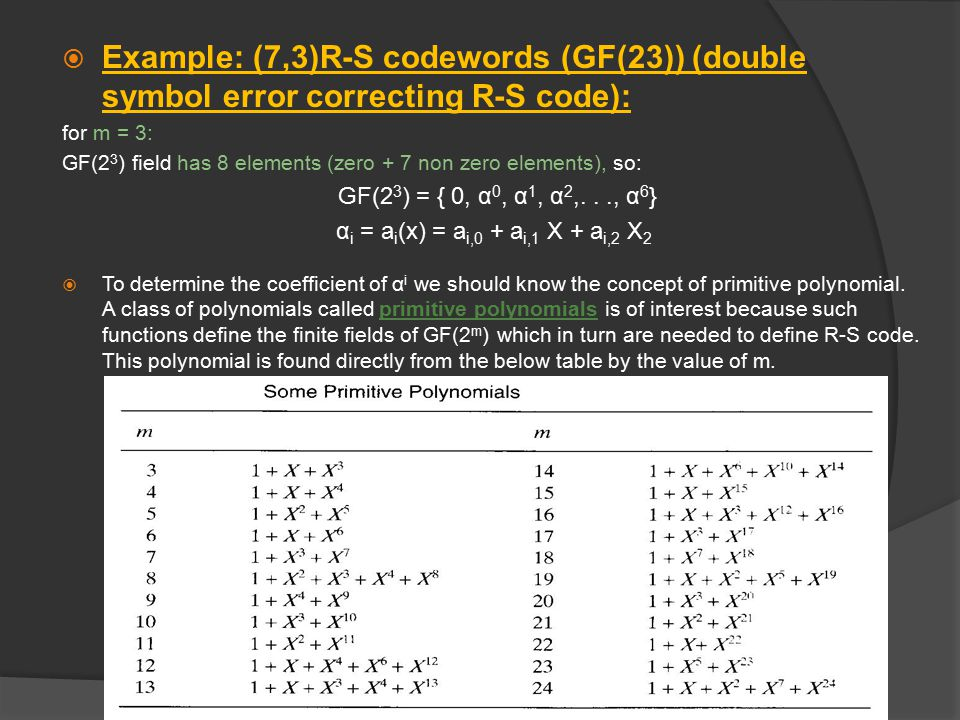  Let's continue the example of (7,3)R-S codewords: For m=3(from the previous table):The corresponding primitive polynomial is: f()=1++ 3  Extension field elements α can be represented by the contents of a binary linear feedback shift register (LFSR) formed from a primitive polynomial.