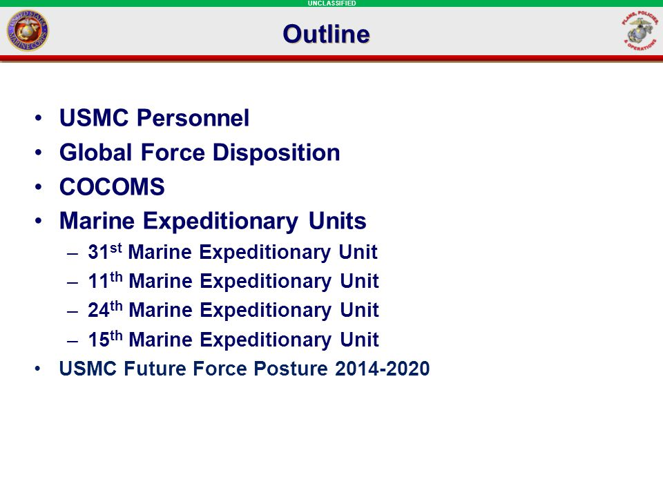 Outline USMC Personnel Global Force Disposition COCOMS Marine Expeditionary Units –31 st Marine Expeditionary Unit –11 th Marine Expeditionary Unit –2