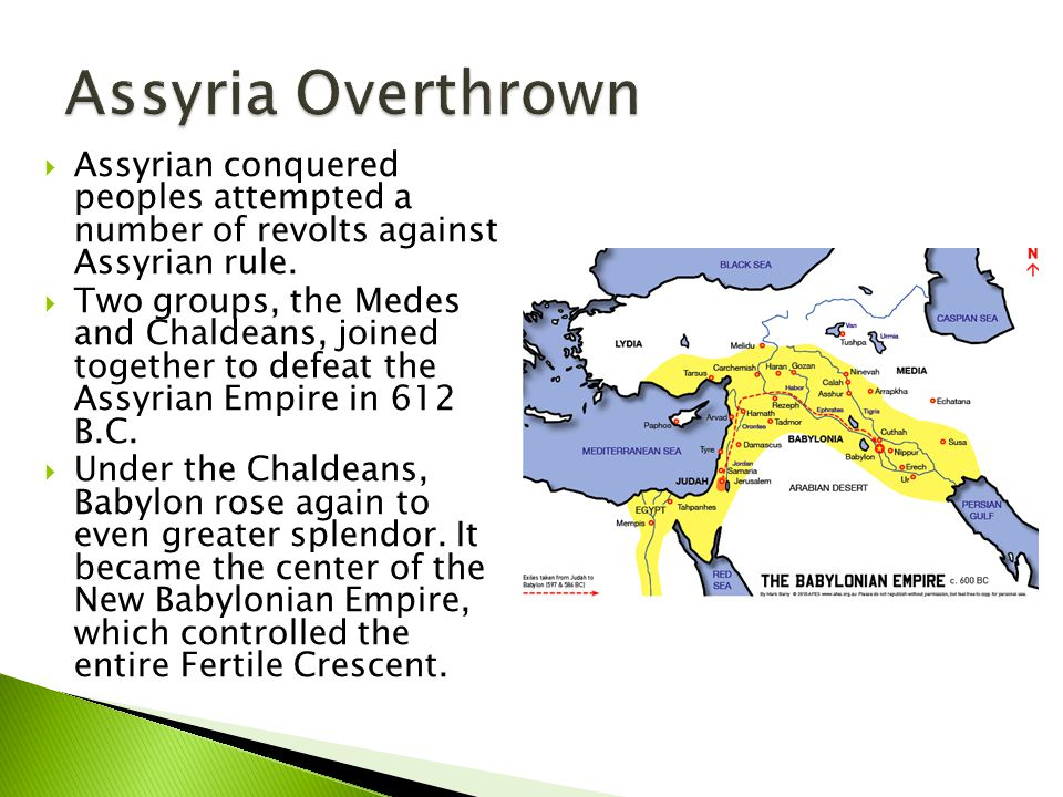  Assyrian conquered peoples attempted a number of revolts against Assyrian rule.