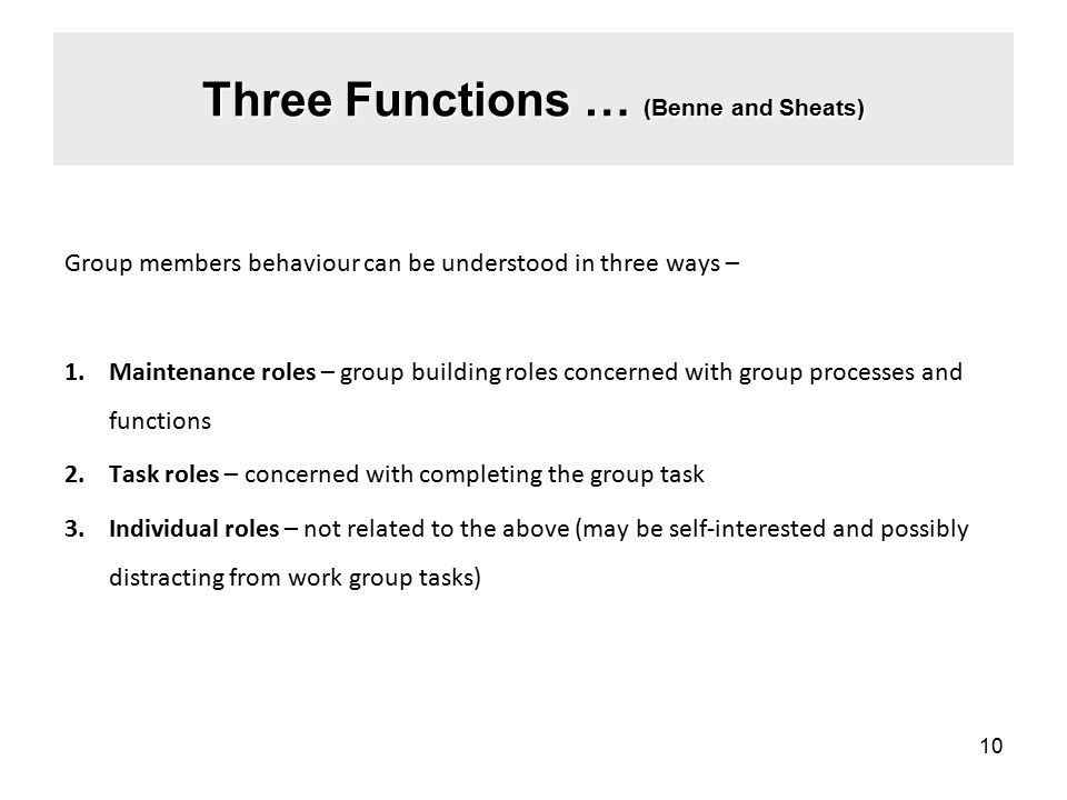 Three Functions … (Benne and Sheats) Group members behaviour can be understood in three ways – 1.Maintenance roles – group building roles concerned with group processes and functions 2.Task roles – concerned with completing the group task 3.Individual roles – not related to the above (may be self-interested and possibly distracting from work group tasks) 10