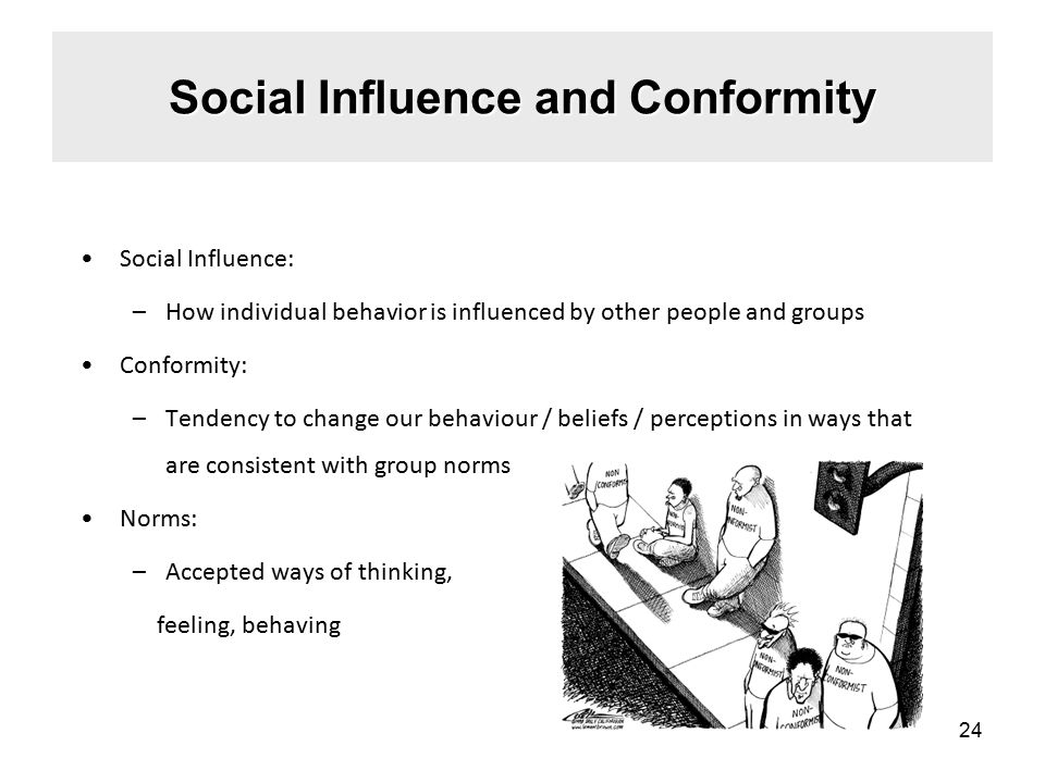 Social Influence: –How individual behavior is influenced by other people and groups Conformity: –Tendency to change our behaviour / beliefs / perceptions in ways that are consistent with group norms Norms: –Accepted ways of thinking, feeling, behaving Social Influence and Conformity 24