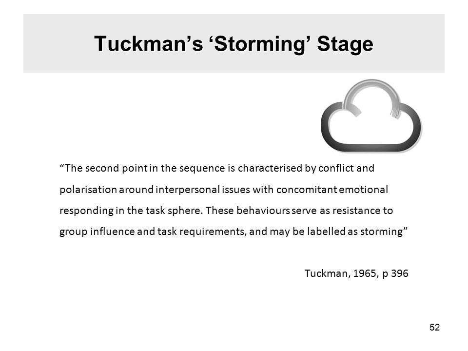 Tuckman's 'Storming' Stage The second point in the sequence is characterised by conflict and polarisation around interpersonal issues with concomitant emotional responding in the task sphere.