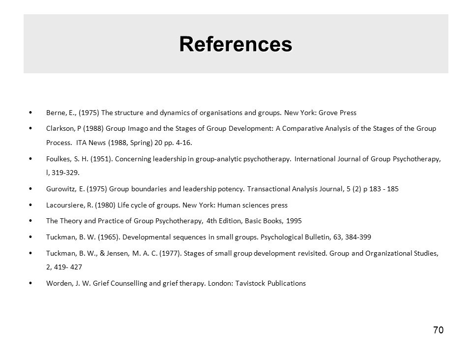 References Berne, E., (1975) The structure and dynamics of organisations and groups.