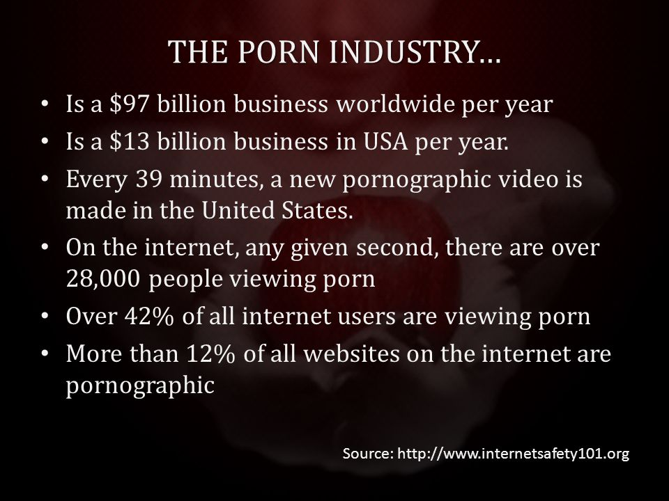 THE PORN INDUSTRY… Is a $97 billion business worldwide per year Is a $13 billion business in USA per year.
