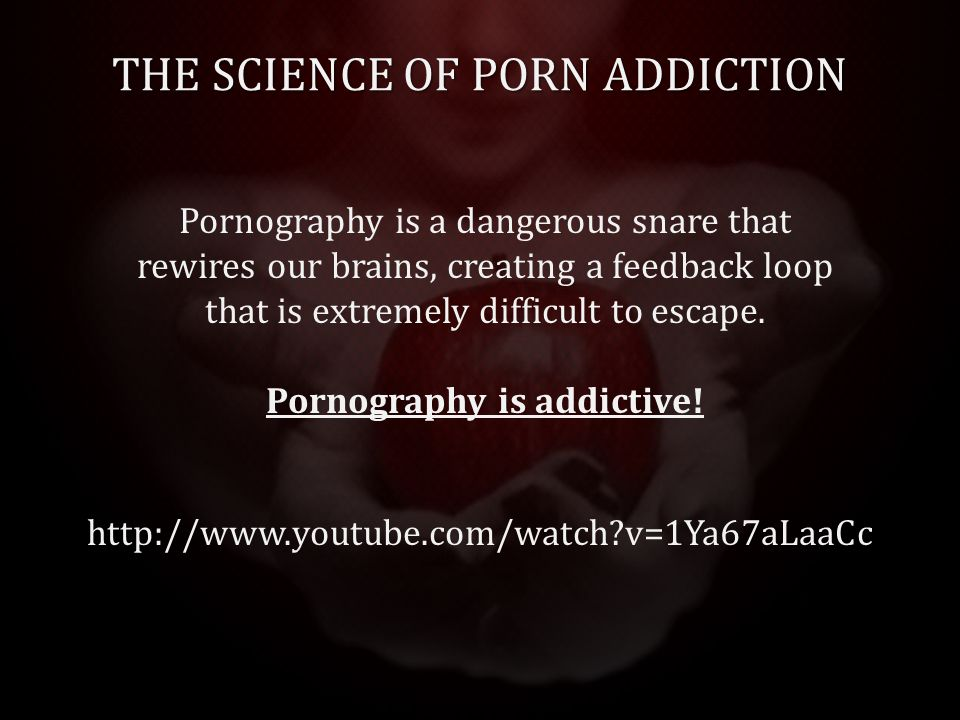 THE SCIENCE OF PORN ADDICTION http://www.youtube.com/watch v=1Ya67aLaaCc Pornography is a dangerous snare that rewires our brains, creating a feedback loop that is extremely difficult to escape.